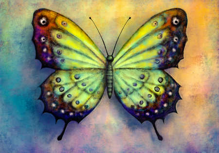 Painting of bright butterfly over grunge background Banque d'images