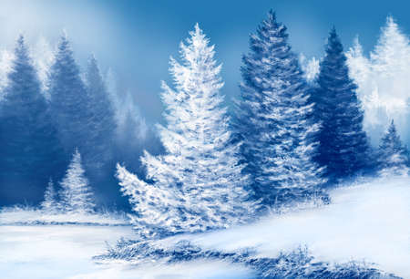 Landscape of dreamlike spruce forest with snow covered fir trees at snowy winter day. Christmas concept. Banque d'images