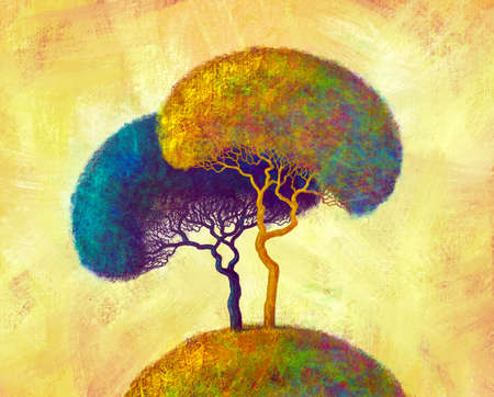 Colorful abstract trees. Hand Painted Impressionist. Digital art painting landscape. Banque d'images