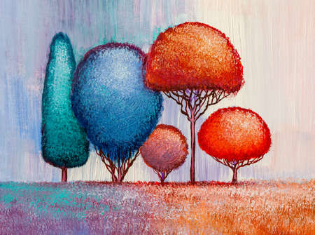 Oil painting landscape, colorful abstract trees. Hand Painted Impressionist, outdoor landscape. Banque d'images