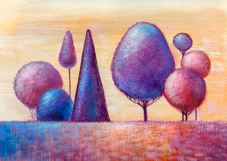 Oil painting landscape, colorful trees. Hand Painted Impressionist, outdoor landscape. Modern art.