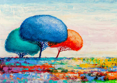 Oil painting landscape, colorful abstract trees. Hand Painted Impressionist.