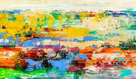 Abstract art background. Modern art. Multicolored bright texture. Oil painting. Banque d'images