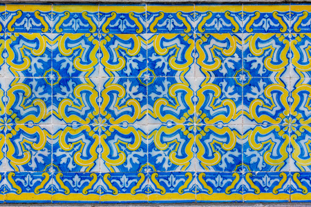 Intricate floral patterned portugese tiles texture with boarder