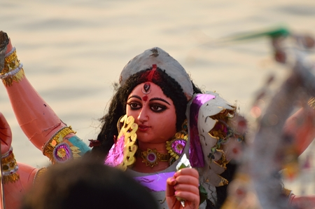 immersion: Idol of Goddess Durga before immersion to a river