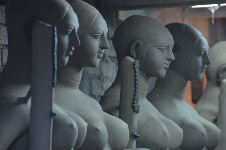 idols: God idols are being prepared with clay before festival
