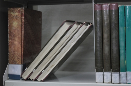 the color of silence: Book shelf of a college library Stock Photo