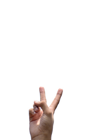 victory symbol: Victory symbol in white background by human hand