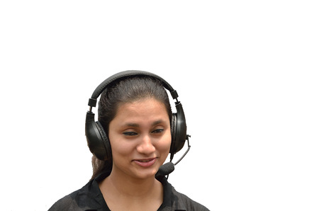 mouthpiece: Young woman with headphone and mouthpiece singing white background