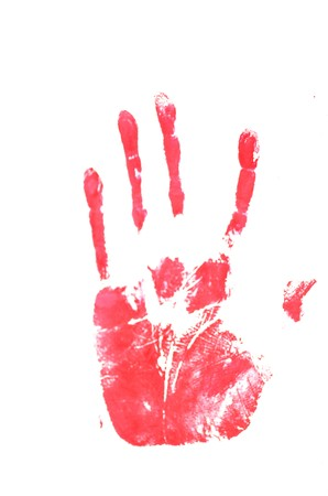 red hand: Red Hand Track. inn white background Stock Photo