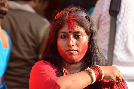 incidental people: Bengali unmarried women participate in Sindur Khela smearing of the vermilion on Durga Pujas last day Bijoya Dashami. It is believed that Sindur khela dates back to time when the tradition of Durga puja started nearly 400 years ago.