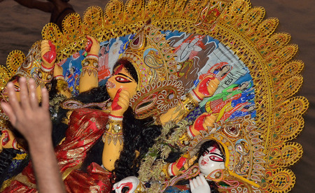 puja: Last day of goddess Durga during Durga Puja festival Editorial