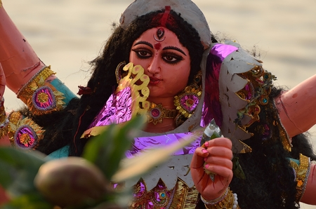 puja: Portrait of goddess Durga during Durga Puja festival Editorial