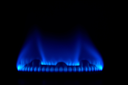 blue flame: Blue flame of gas on a oven