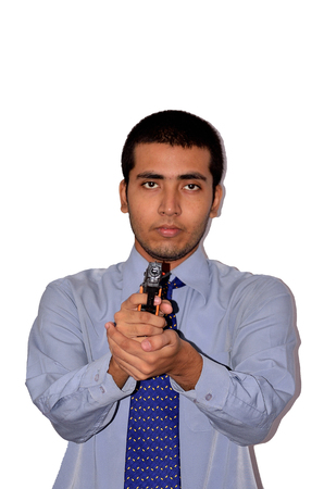 semi automatic: Security man with pistol