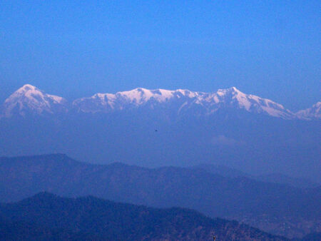 Panorama view of mountain range photo