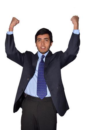 Successful businessman with joy photo