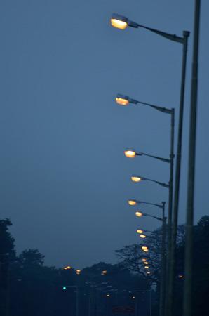 industry moody: Row of street light.