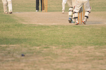 cricket field: Cricket game was playing in field at Kolkata by boy Stock Photo