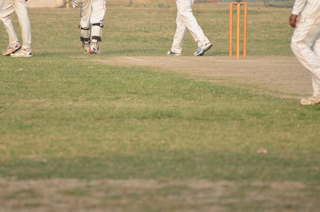cricket game: Cricket game was playing in field at Kolkata by boy Stock Photo