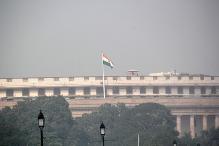 national flag: Indian parliament house