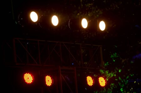 halogen lighting: Lighting in a nightclub for entertainment. Stock Photo