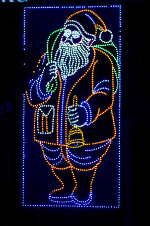 christmas lights display: In a festival time Santa Claus was displayed at Calcutta. Stock Photo