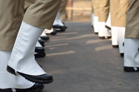 marching: Soldiers marching in row. Stock Photo