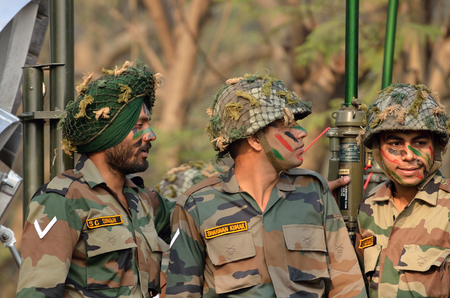 each year: Indian army together.Soldiers of the Indian Army marching down. Practice for Republic Day Parade.The parade is held on 26 January each year.