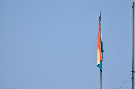 national flag: Indian national flag is flying in a sky. Stock Photo