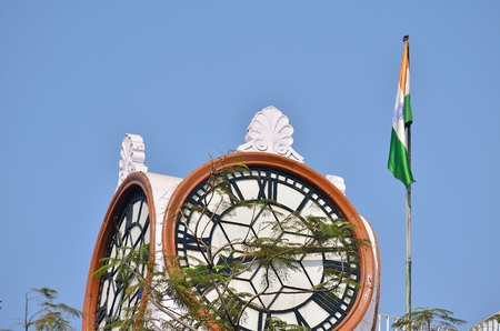 national flag: Indian historical building at Calcutta.