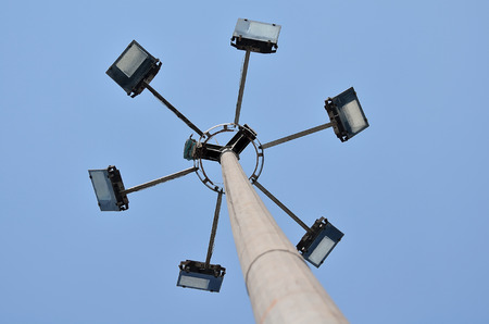 directly below: Lighting tower in a sky from low angle view.