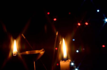 oil lamp: Oil Lamp and Candle light Stock Photo