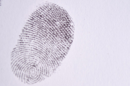 criminal: Scanned fingerprint. criminal identity. Stock Photo