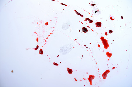 forensic: Human blood and fingerprint left forensic evidence on a white background Stock Photo