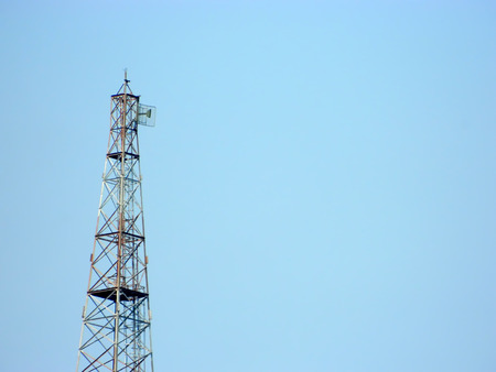 communication tower: Communication tower in sky. Stock Photo