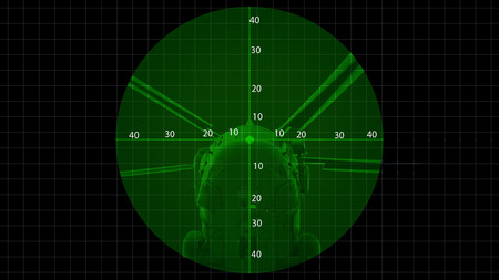 monocular: Binocular view of a helicopterTwo part of photograph.One part is war ship closeup and another is maiden software. Then two part is merged in software.The photograph is prepared in image processing software. It consists of 19 layers. No part of the photogr Stock Photo