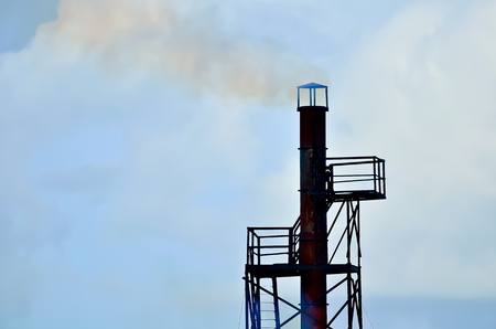 exhaust pipe: Exhaust pipe ship funnel chimney in iron industry. Stock Photo