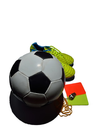 soccer cleats: Soccer equipment in white background Stock Photo