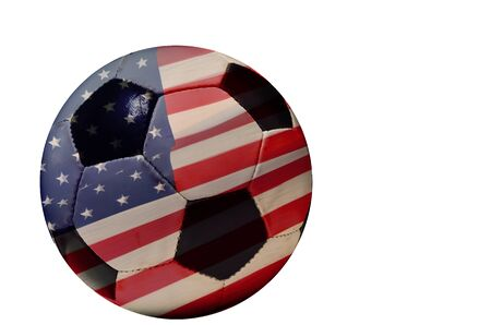 marge: Two photograph are marge in photography software.One is soccer ball and another USA flag. Stock Photo