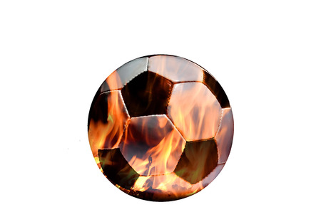 marge: Two photograph are marge in photography software.One is soccer ball and another fire.