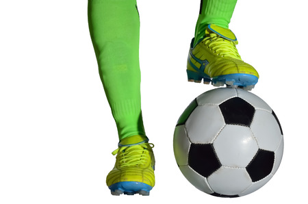 Receiving: Boy is receiving soccer ball in white background.