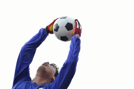 portero de futbol: Portero de f�tbol guardar meta en el fondo blanco.