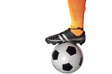 Receiving: Player is receiving soccer ball in white background.