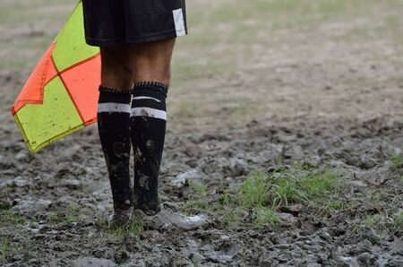 linesman: Soccer assistant referee with flag.