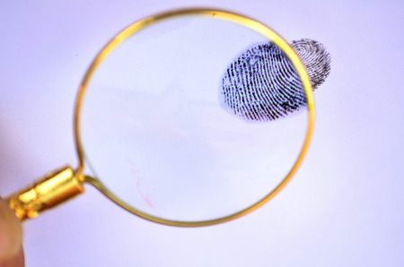 forensic science: Magnifying glass with fingerprint on the white backgroun Stock Photo