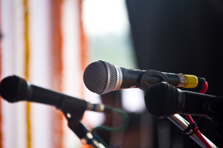 vocal: Vocal microphone stands ready.Microphone on stage. Stock Photo