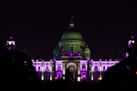 social history: Victoria Memorial Hall, Kolkata, India in a night. The building is located at the heart of city Kolkata.For other memorials to Queen Victoria and is now a museum. It was built between 1906 and 1921.