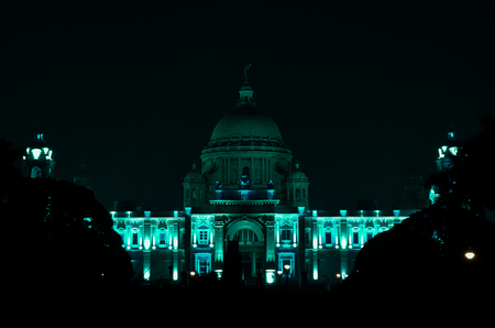 calcutta: Victoria Memorial Hall, Kolkata, India in a night. The building is located at the heart of city Kolkata.For other memorials to Queen Victoria and is now a museum. It was built between 1906 and 1921.