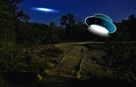 copied: Flying saucers ufo on night background.UFO flying.The photograph is prepared using 3D rendering and Gaussian noise distribution in image processing software and coding. It consists of 13 layers.No part of the photograph is copied from anywhere. Stock Photo